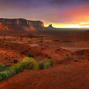 Sunrise Over Monument Valley by Al Juniarsam  - Landscapes Sunsets & Sunrises ( monument valley )