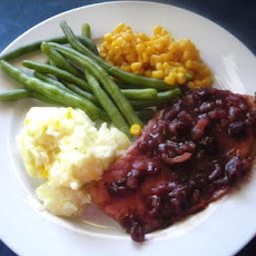 Super-Easy Fried Ham Steak With Cranberry  Mustard Sauce