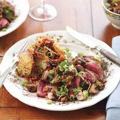 Sliced Steak and Mushrooms with Warm Potato Salad