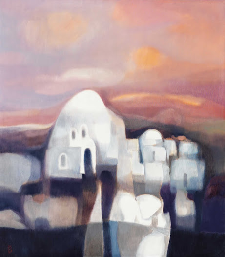 This calm, soothing piece by an Iraqi artist, made in the late 1970's,  caught my eye with its' peaceful colours and serene background.