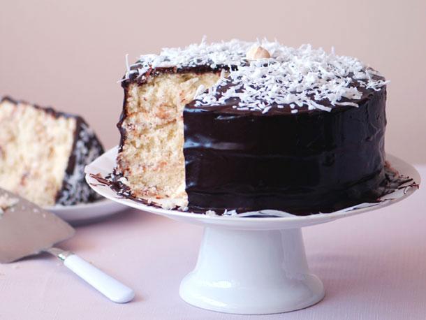 Coconut Layer Cake with Chocolate Glaze Recipe | Yummly