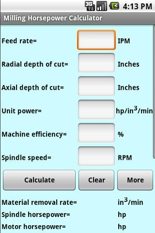 Milling Horsepower Calculator