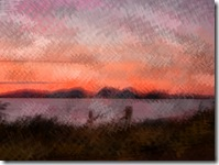 jura sunset pencil scribble