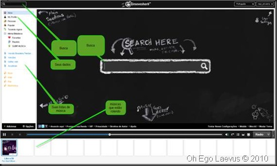 Explicando a tela principal do Grooveshark