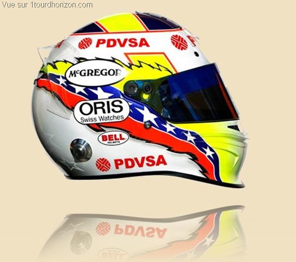 Casque des pilotes de formule 1 - Pastor Maldonado