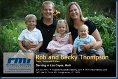 Rob & Becky Thompson's prayer card