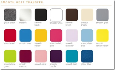 Smooth heat transfer colors