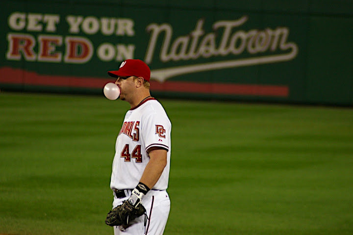 Adam Dunn blows a bubble