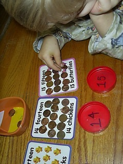 counting pennies onto the cards
