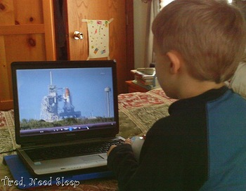 watching launch of Discovery