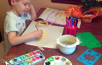 art cart fun - painting with watercolors and markers