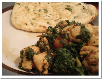 Chicken Saagwala and Garlic Naan