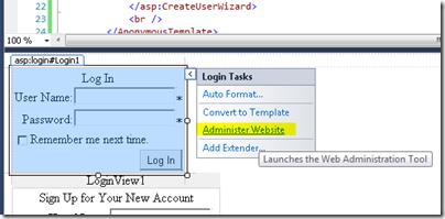 Administer Website method of creating ASPNETDB.MDF