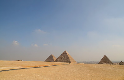 Even the massive pyramids in Cairo, Egypt can look small from across the desert.