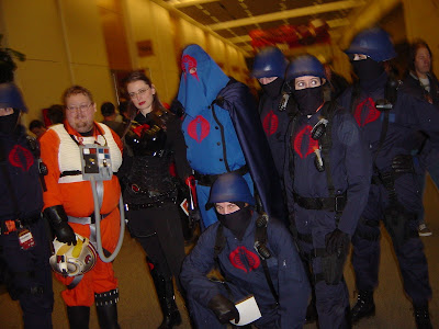 fans dressed as members of Cobra (from G.I. Joe) back at Star Wars Celebration III in April 2005