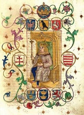 Matias Corvino, Rey de Hungria-Bohemia (Chequia), Duque de Austria, Señor de Silesia (en Polonia), Principe de Transilvania (en Rumania) y Croacia, etc. Imagen del famoso monarca renacentista sentado en su trono (1490).