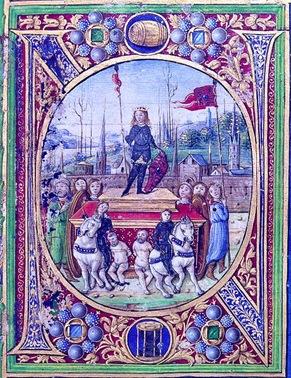 Ocupación de Viena por el Rey Matías Corvino (Códice de Filóstrato), Biblioteca Corviniana. Se supone que el personaje en triunfo es su joven hijo Juan Corvino