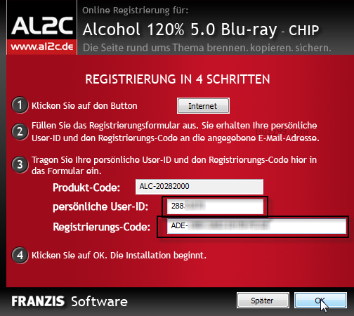 Alcohol 120 cd keys