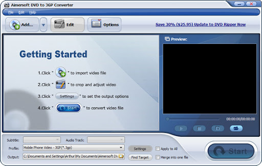 Download Aimersoft DVD to 3GP Converter 2.2 Full Version for Free