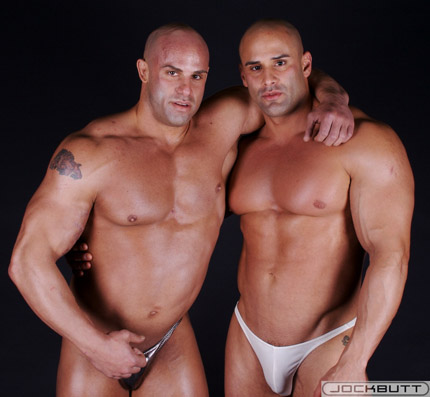Two Muscle Hunks, Big Roger and Peter Latz, Muscle Worship each other