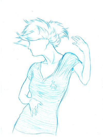 Sketch menina azul 3