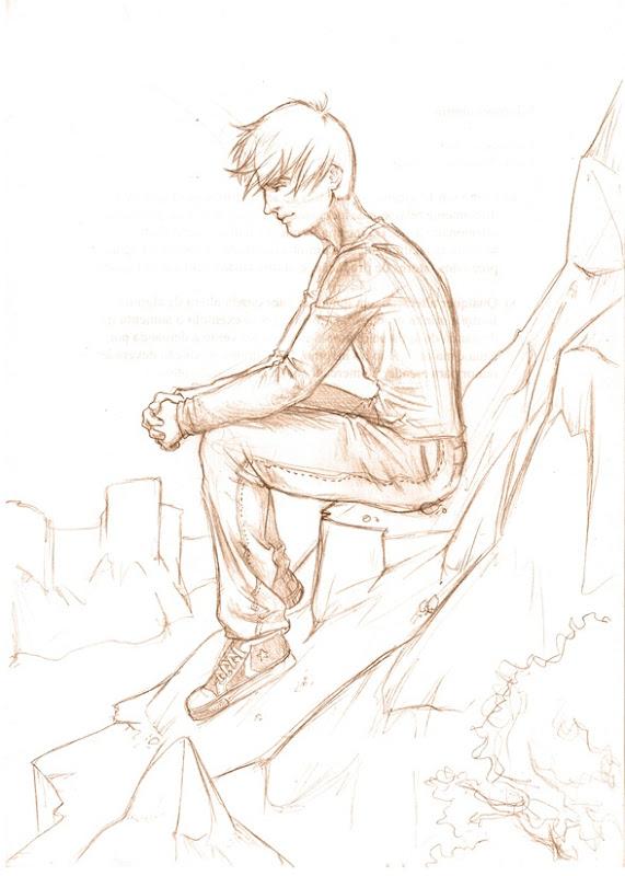 sketch homem na montanha