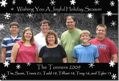 Tonner Family Christmas Pic 2009