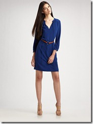 Akris Punto Three-Quarter Sleeve Belted Dress