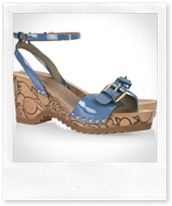 Stella McCartney Faux patent-leather wooden wedge sandals