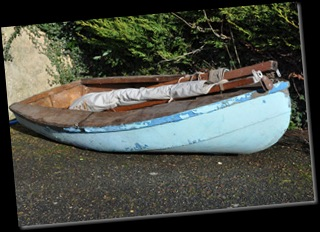 Clinker dinghy donated by Carolyn from Gurnard, Cowes Feb 11