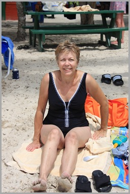 My mother in law, relaxing on the beach