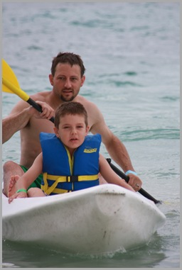 Tony and Landon kayaking