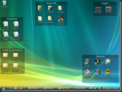 Organize your desktop icons by creating fences and moving your icons into them.