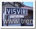Señalización de la estación Visviri, que informa que se encuentra a 205 Km de Arica y a 4.050 metros sobre el nivel del mar