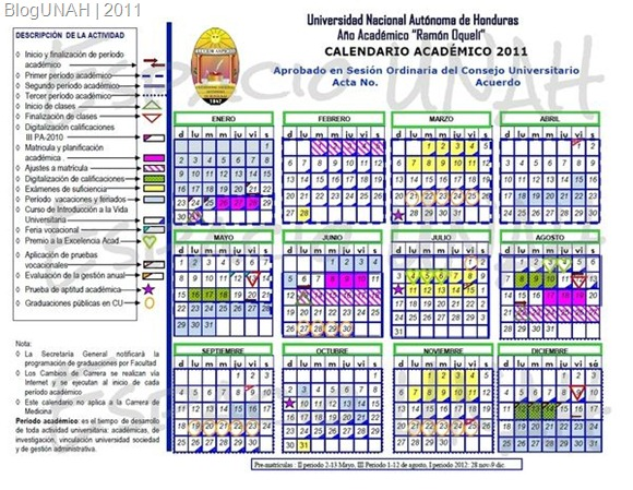 Calendario UNAH 2011