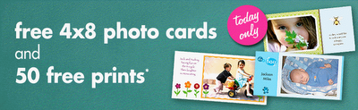 Snapfish free 4x8 photo cards