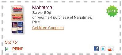 Mahatma Rice 50 cents off