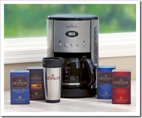 Gevalia Coffee Maker 19.95 and Four Boxes of Coffee and Travel Mug Free