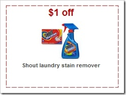Shout Laundry Stain Remover 1 dollar off Target Coupon