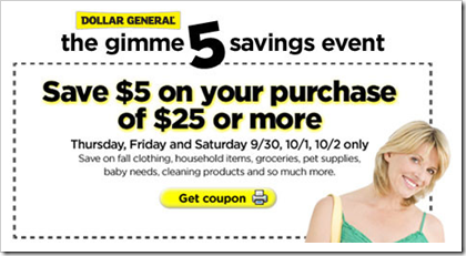 Dollar General Gimme 5 Savings Event 5 off 25