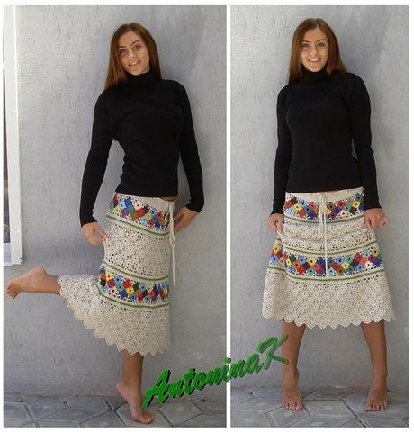 Вязаная юбка с цветными квадратиками
