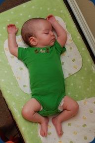 Landon decided to sleep through his diaper change