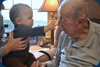 Hudson reaching our for Granddad
