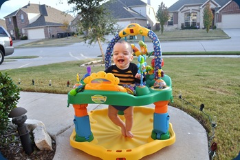 Landon having fun out front