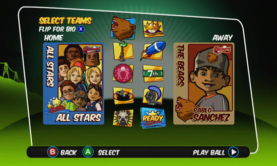 Backyard Sports, Sandlot Sluggers, xbox, game, screen, screenshot, image
