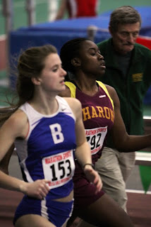 Camille Henry going head to head with Bromfield's Mimi Narbonne in the MSTCA Elite 300m!
