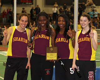 2010 McIntyre Elite Relays 4 x 50yd Shuttle Relay Champions (l to r) seniors Ali Kirsch, Camille Henry, Jen Jaboin, and junior Sara Gildersleeve.