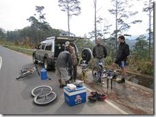 preparing the bicycles