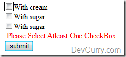 Select atlease one checkbox