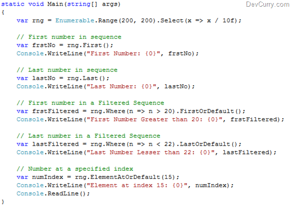 LINQ Query Sequence